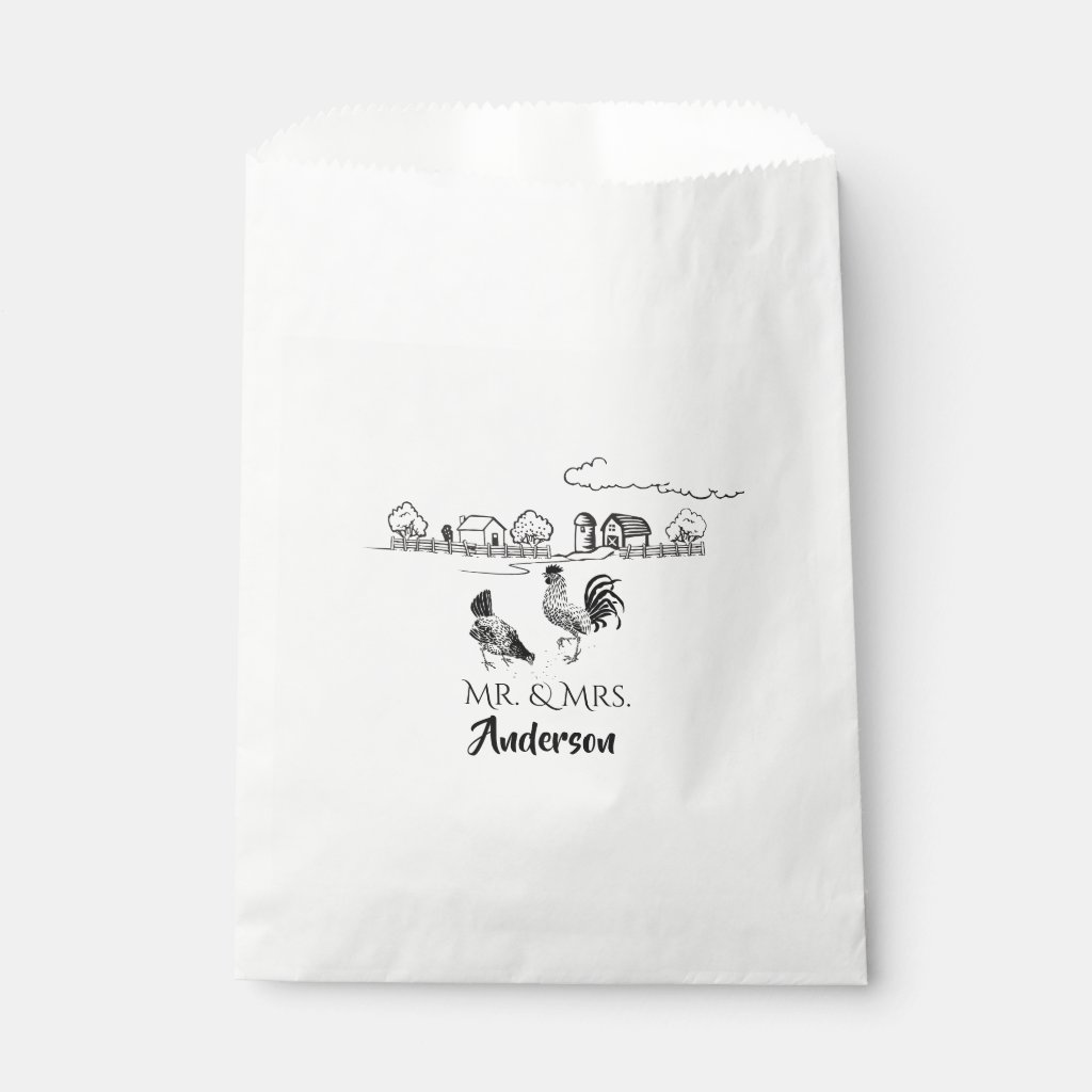Personalized Mr and Mrs Chickens Farm Wedding Favor Bag
