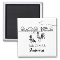 Personalized Mr and Mrs Chickens Farm Wedding Magnet