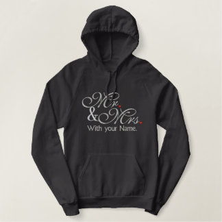Personalized Mr. and Mrs. Husband Wife His Hers Embroidered Hoodie