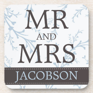 Personalized Mr and Mrs in Brown and Blue Coaster