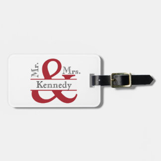 Personalized Mr and Mrs Newly Weds Monogram Bag Tag