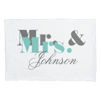 Personalized mr and mrs pillowcase for newly weds