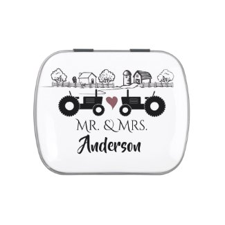Personalized Mr and Mrs Tractor Couple Farm LOVE Candy Tin