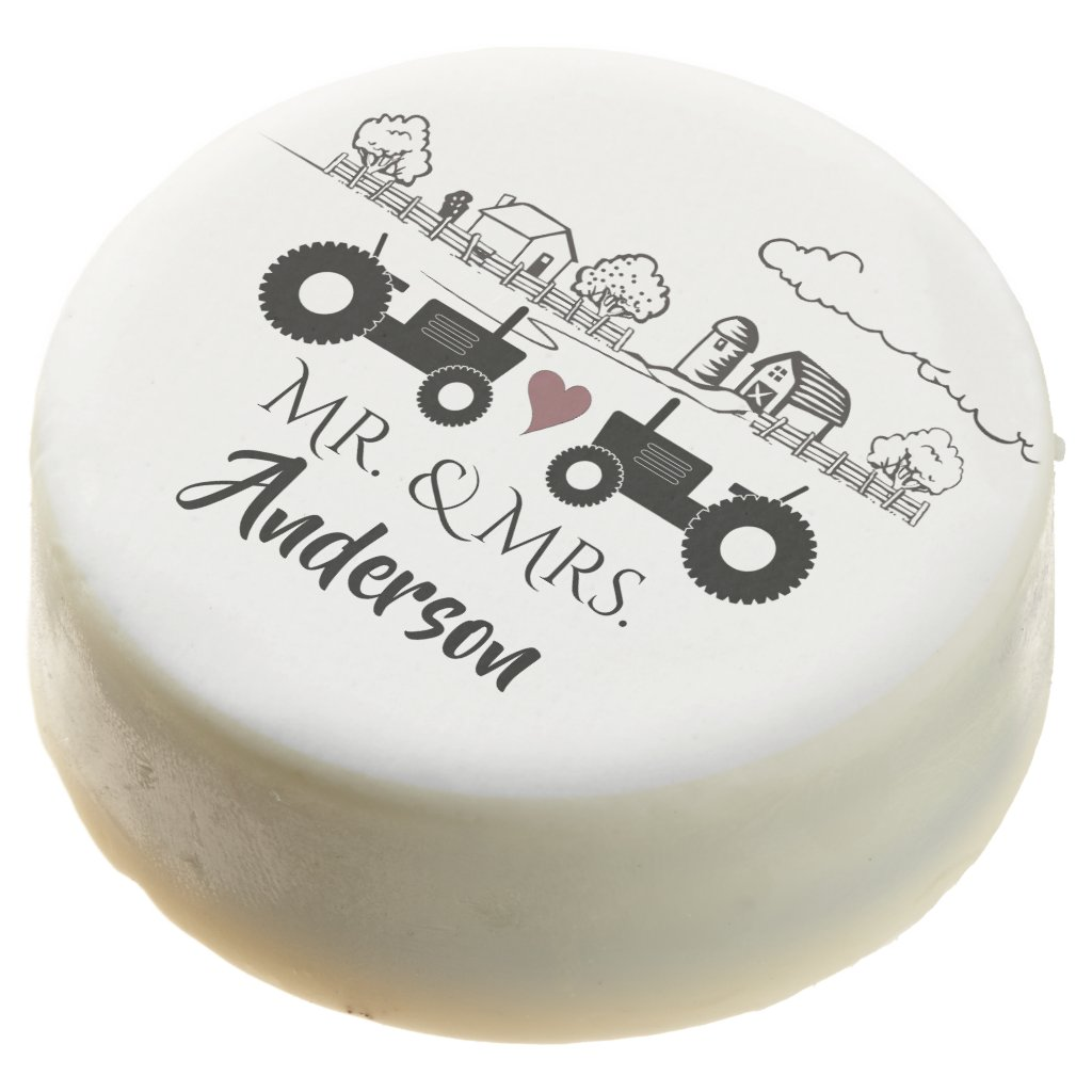 Personalized Mr and Mrs Tractor Couple Farm LOVE Chocolate Covered Oreo