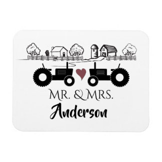 Personalized Mr and Mrs Tractor Couple Farm LOVE Magnet