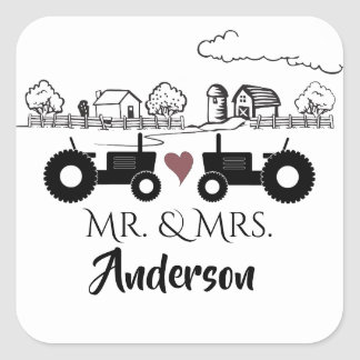 Personalized Mr and Mrs Tractor Couple Farm LOVE Square Sticker