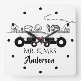 Personalized Mr and Mrs Tractor Couple Farm LOVE Square Wall Clock