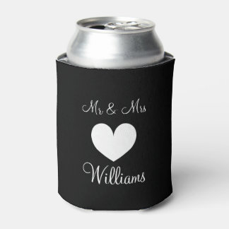 Personalized Mr and Mrs wedding can coolers Can Cooler