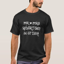 Personalized Mr and Mrs wedding date t shirts