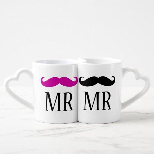 Personalized MR & MR Mustache Lovers Mug Sets