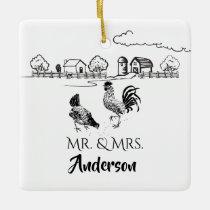 Personalized Mr & Mrs Chickens Farm 1st Christmas Ceramic Ornament