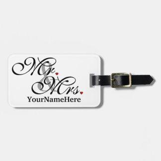 Personalized Mr. Mrs. Husband Wife Newly Weds Luggage Tag