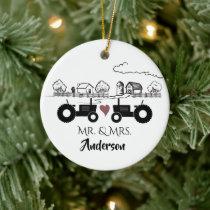 Personalized Mr & Mrs Tractor Farm 1st Christmas Ceramic Ornament