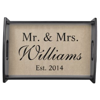 Personalized Mr. & Mrs. Wedding Service Tray
