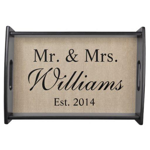 Personalized Mr. & Mrs. Wedding Service Trays