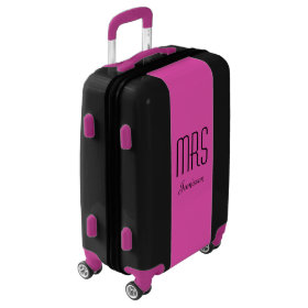 Personalized MRS Black and Pink Suitcase Luggage