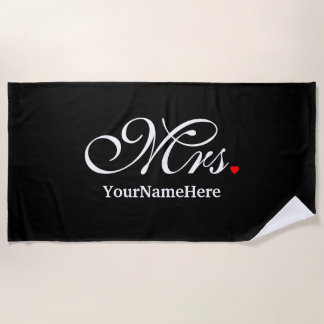 Personalized Mrs. Wife Bride His Hers Newly Weds Beach Towel