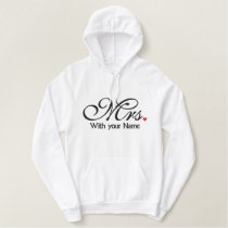 Personalized Mrs. Wife Bride His Hers Newly Weds Embroidered Hoodie