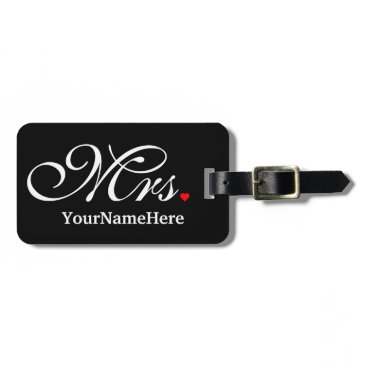 MustacheShoppe Personalized Mrs. Wife Bride His Hers Newly Weds Luggage Tag