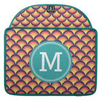 Personalized Multi-Color Waves Geometric Monogram MacBook Pro Sleeve