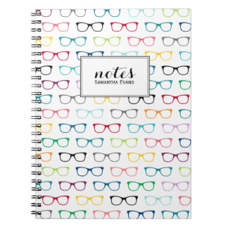 Personalized Multicolor Nerd Glasses Pattern Spiral Notebook