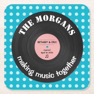 Personalized Music Album Retro Design Square Paper Coaster