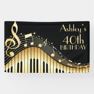 Personalized Music Birthday Banner
