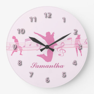 Personalized Music Dance and Drama Pink Round Wall Clock