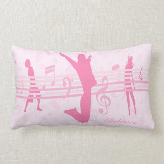 Personalized Music Dance and Drama Pink Lumbar Pillow