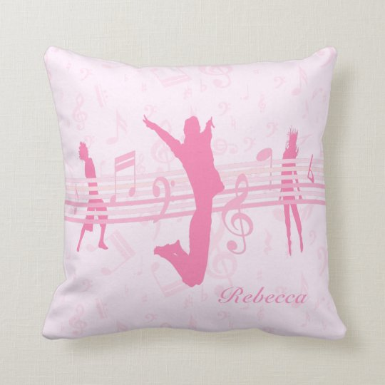 Personalized Music Dance and Drama Pink Throw Pillow