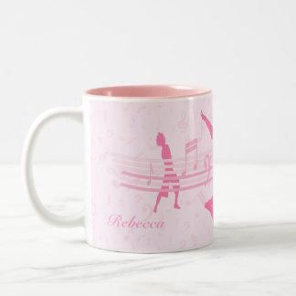 Personalized Music Dance and Drama Pink Two-Tone Coffee Mug