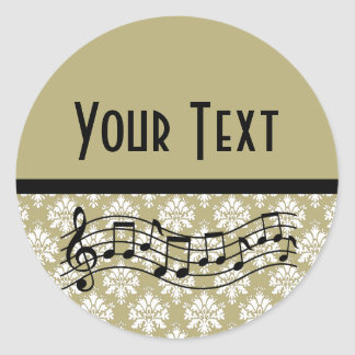 Personalized Music Gold Damask Round Stickers