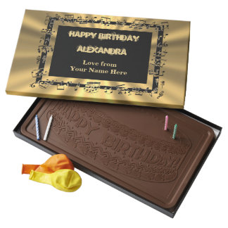 Personalized music lovers happy birthday milk chocolate bar