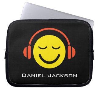 Personalized music smiley laptop sleeve
