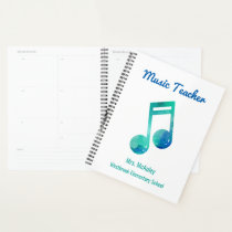 Personalized Music Teacher Watercolor Musical Note Planner