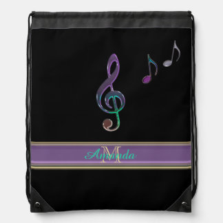 Personalized Music Treble Clef on Black Backpack