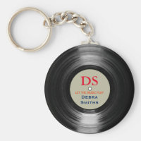 personalized music vinyl record keychain