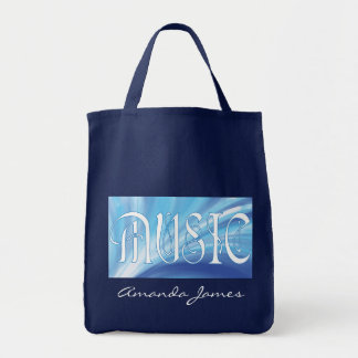 Personalized MUSIC with blue swirl tote Grocery Tote Bag