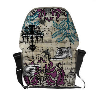 Personalized Musical Chandelier Tree Bird Damask Courier Bag