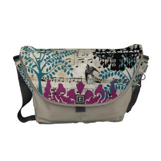 Personalized Musical Chandelier Tree Bird Damask Messenger Bag