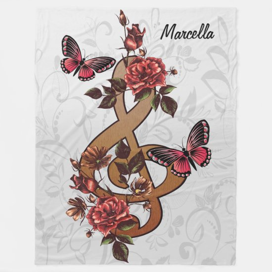 Personalized Musical note roses & butterflies Fleece Blanket