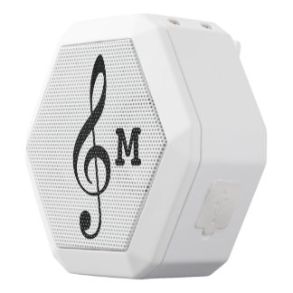 personalized musical note / treble clef white bluetooth speaker