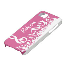 Personalized Musical Notes Hot Pink and White iPhone 5 Cover