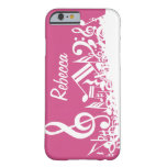 Personalized Musical Notes Hot Pink and White Barely There iPhone 6 Case