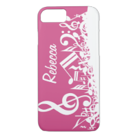 Personalized Musical Notes Hot Pink and White iPhone 7 Case