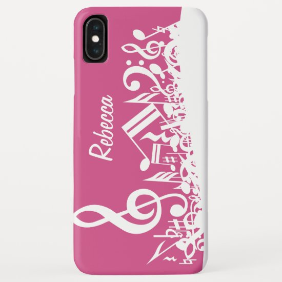 Personalized Musical Notes Hot Pink and White iPhone XS Max Case