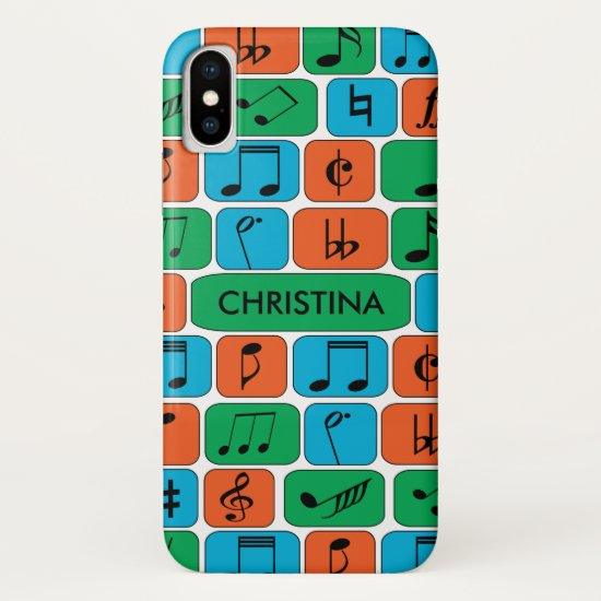 Personalized Musical Notes iPhone XS Case