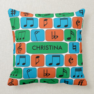 Personalized Musical Notes Throw Pillows