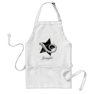 Personalized Musical Star golden notes Adult Apron