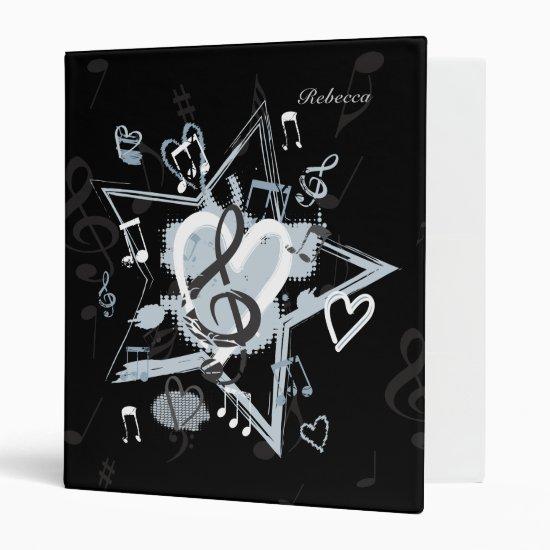 Personalized Musical Star notes designer pattern 3 Ring Binder